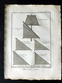 Diderot C1790 Antique Ship Print. Marine, Voilure 22C Ship Sails
